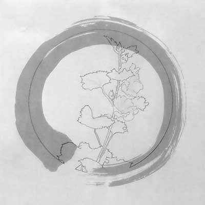 The enso superimposed on the hollyhocks drawing