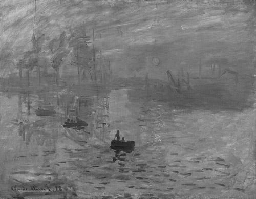 Monet, Impression Soleil - Levant, greyscale