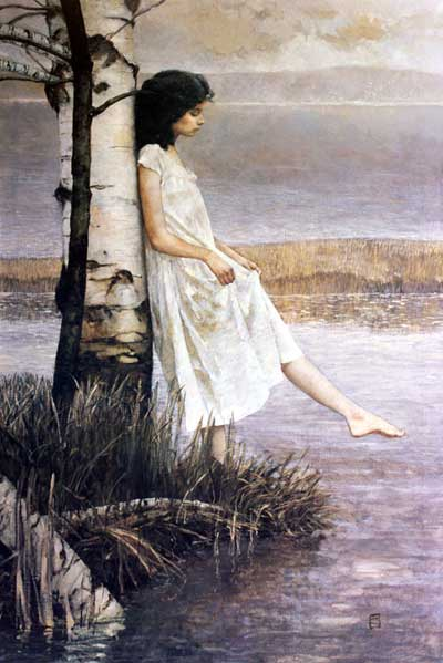 Compositional opposition and transition in a beautiful painting by Jeffrey Catherine Jones.