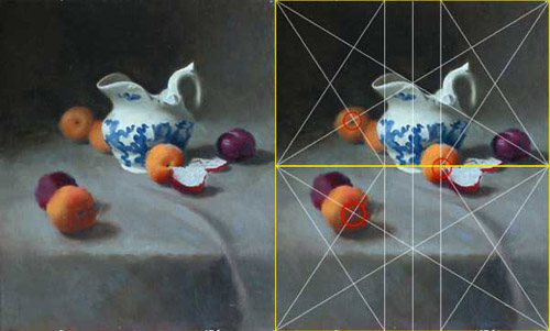 A still life composition built on the principle of the golden section
