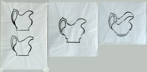 Jug drawings with a Chinese brush