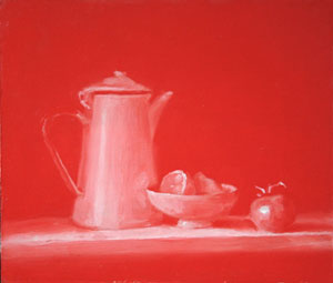 Red still life with lemon and totmato