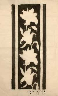 Chinese brush and border design based on a drawing of lilies.