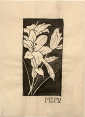 Ink and brush notan study of lilies