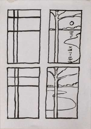 Composition studies - line compositions translated into landscape drawings