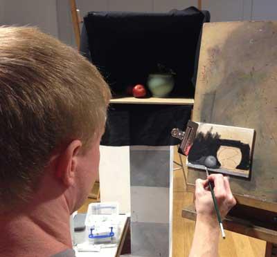 Matt Weigle demonstrating his approach to still life painting