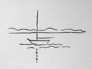 practising opposition: a simple sketch of a boat.