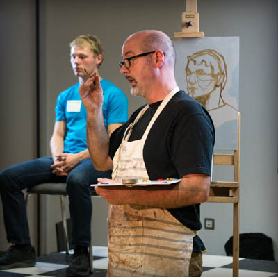 PJ Lynch giving a fascinating portrait painting demonstration