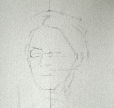 Sarah Spencer Portrait drawing copy - blocking in the eye.