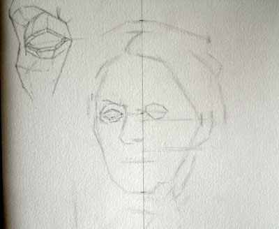 Step 20 - more work on drawing the eyes.