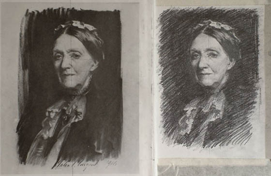 the portrait copy completed, next to the original