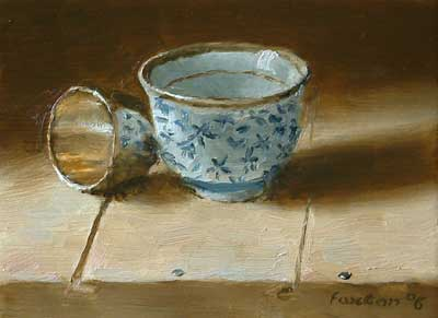 Still life with Japanese cup and old silver egg cup