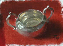 An oil painting sketch of a silver sugar bowl