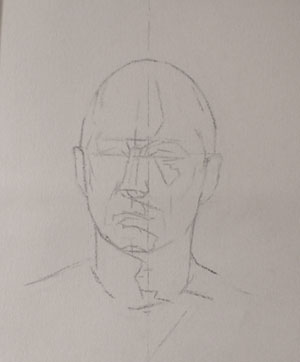 Initial block-in of the self portrait