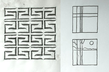 Chinese brush drawings of a repeat pattern and a simple imagined landscape