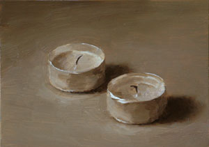 Still life with two tea lights
