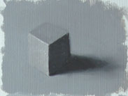 painting of a value 5 cube