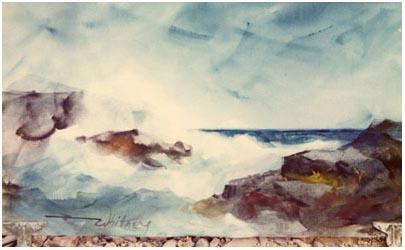 A watercolour seascape by Edgar Whitney.