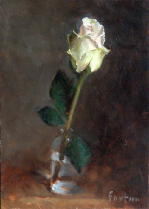 Pink Rose, oil on panel