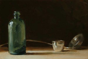Still Life with Green Bottle and Silver