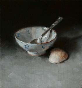 Still Life Study with Teaspoon, Chinese Bowl and Shell
