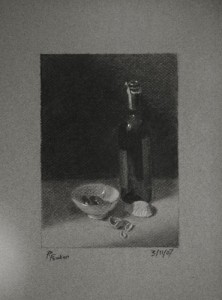 Wine Bottle and Chinese Bowl - A Still Life Drawing
