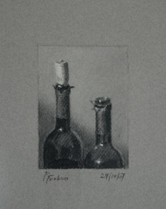 Wine Bottles, a Still Life Drawing