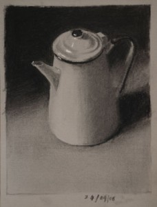 Coffee Pot Three - Charcoal Still Life Drawing