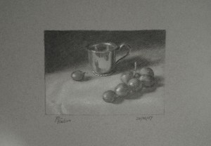 Silver Cup and Grapes